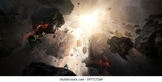 World collapse, doomsday scene, digital painting.
