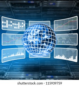 World control and monitor report the sytem in server room : Elements of this image furnished by NASA