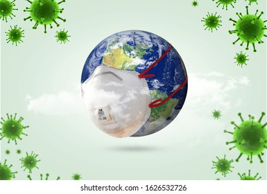 world Corona virus attack concept. world/earth put mask to fight against Corona virus. Concept of fight against virus, danger and public health risk disease.Many Virus attack isolated on green - Shutterstock ID 1626532726