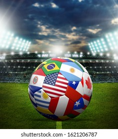 World cup soccer ball with world flag