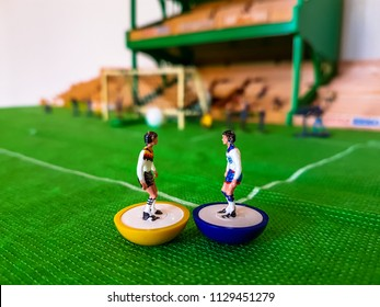 World Cup Subbuteo football figures lined up on a grass football field, England v Germany