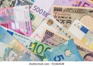 world currency - American dollars, European euro,Swiss franc,Chinese yuan and Japan yen