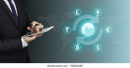 World currency market concept, businessman holding a phone with money icon