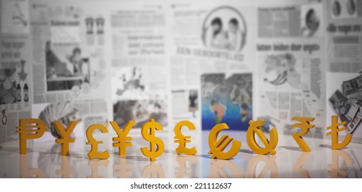 World currency units front of newspaper's economy pages
