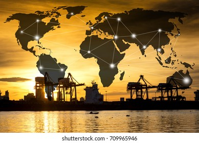World data link connection and silhouette industrial shipping port and sunrise, transportation import export