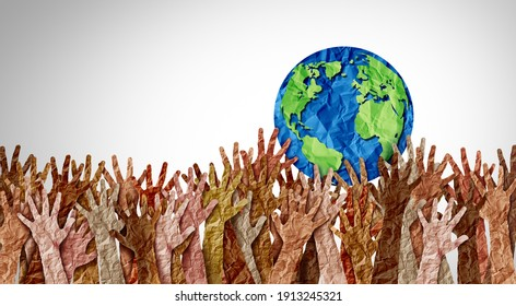 World day as diverse cultures and multiculturalism society and international tolerance celebration of global diversity and african american asian and caucasian culture integration and pride. - Shutterstock ID 1913245321