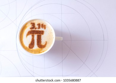 the world day of PI with the inscription 3.14 on a cup of cappuccino