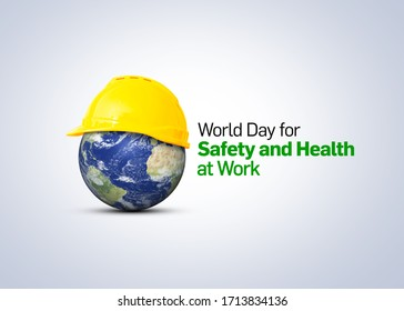 World Day for Safety and Health at Work concept.The planet Earth and the helmet symbol of safety and health at work place. Safety and Health at Work concept. - Shutterstock ID 1713834136