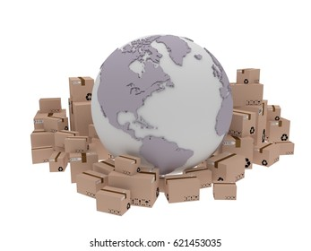 world delivery, illustration of globe icon and box arround. 3d render