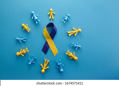 World Down syndrome day on blue background. Down syndrome awareness concept. Top view