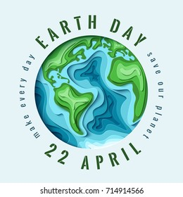 World Earth day concept. 3d paper cut eco friendly design.  Paper carving Earth map shapes with shadow. Save the Earth concept. April 22