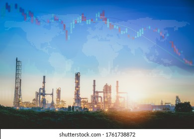 World Economic Recession of Oil and Gas Industrial Sector From Coronavirus Covid-19, Global Stock Investment Downturn of Fuel Energy Oil/Gas Industry. Corona Virus Epidemic Crisis, Financial Economy