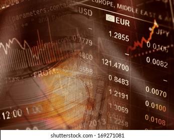 World economics graph and euro sign. Finance concept.