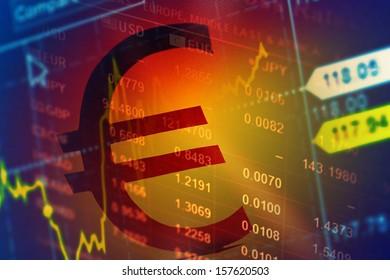World economics graph. Finance concept with euro money sign.