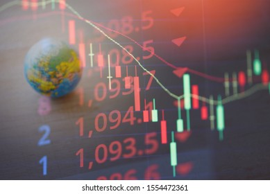 World economy crisis stock market exchange loss forex trading graph investment indicator of financial board display candlestick / Business graph stock crash red price chart fall money decrease