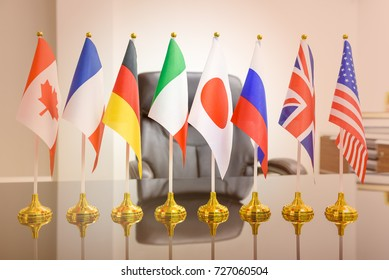 World economy, economic policies and political forum concept : National flags of G8 or group of eight major highly industrialized countries i.e Canada, France, Germany, Italy, Japan, Russia, UK, USA