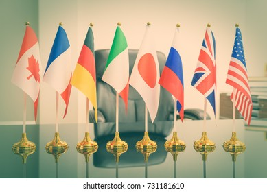 World economy, G8 economic policy and political forum concept : National flags of G8 or group of eight major highly industrialized countries i.e Canada, France, Germany, Italy, Japan, Russia, UK, USA