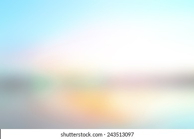 World environment day concept: concept: Abstract blur beach with yellow and blue sky sunrise background