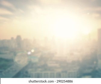 World environment day concept: Abstract blur city on beautiful sunrise background. Bangkok, Thailand, Asia