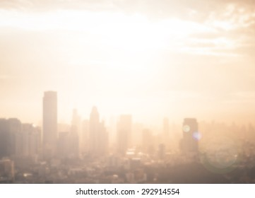 World environment day concept: Abstract blur aerial view city skyline landscape sunset Background