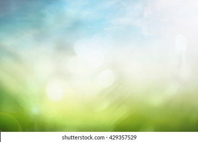 World environment day concept: Abstract blurred beautiful green nature with blue sky and white clouds wallpaper background