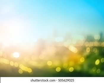 World environment day concept: Abstract blurred big city panorama background