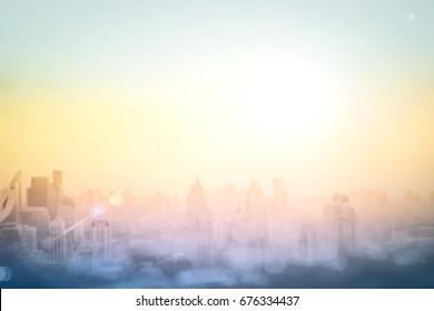 World environment day concept: Abstract blur city autumn sunrise landscape background. Bangkok, Thailand, Asia