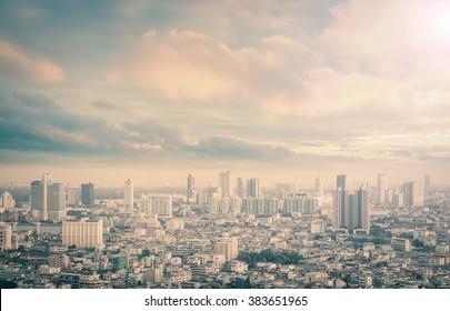 World environment day concept: Bangkok city skyline at sunset background