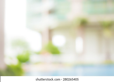 World environment day concept: Blur outside healthy house with green garden background