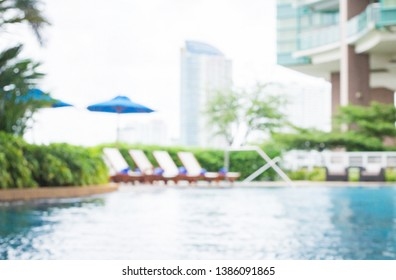 World environment day concept: Blurred beautiful pool side background