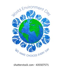 World environment day. Concept design for banner,  print, poster, greeting card.  illustration. Elephant Protection Day. Save, Protect the planet African elephants, day clean world.