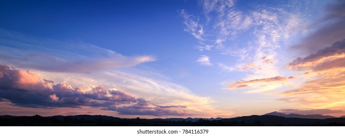World environment day concept: Dramatic valley sky sunset panoramic mountain landscape background