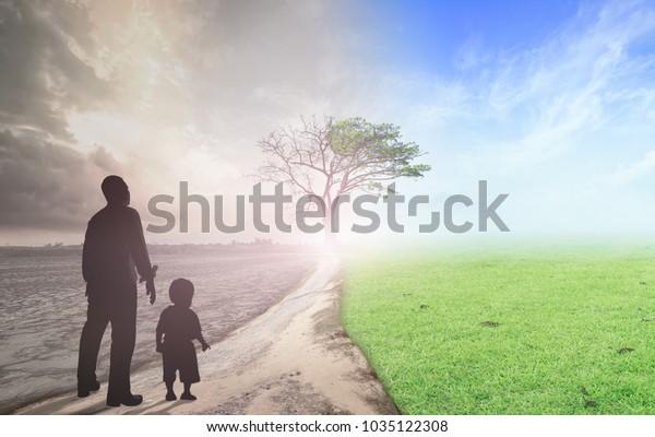 Concepto del Día Mundial del Medio Ambiente: Padres y niños parados entre el clima empeoraron con buena atmósfera