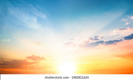 World Environment Day concept: Orange cloudy sky background