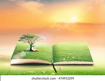 World environment day concept: Student reading story on book of nature sunset background
