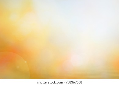World environment day concept: Sun light and abstract blurred autumn sunrise background