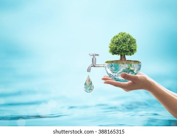 World environmental ecology, CSR, ESG eco-friendly, environment sustainability  concept with rain forest tree planting growing on green globe with water faucet. Element of the image furnished by NASA