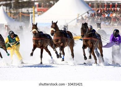 World exclusive skiing in St. Moritz, Switzerland