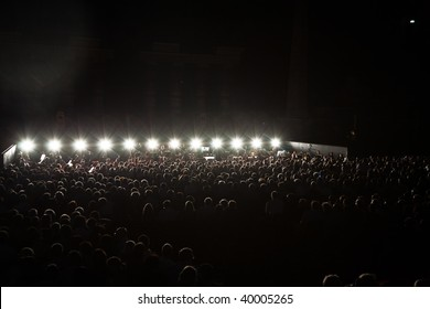 world famous amphi theater arena from verona ,musicians in the orchestra pit by night