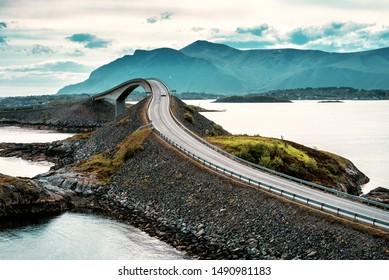 World famous Atlantic road bridge (Atlanterhavsvegen) with an amazing view over the norwegian mountains. Norwegian landscape