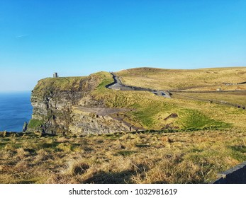 world famous cliffs of moher in county clare Ireland. beautiful scenic Irish nature countryside along the wild Atlantic way.