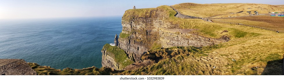 world famous cliffs of moher in county clare Ireland. beautiful scenic Irish nature countryside along the wild Atlantic way. unesco global geopark European Atlantic Geotourism Route