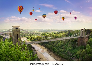 The World Famous Clifton Suspension Bridge, situated in Bristol, UK.During the annual balloon fiesta.