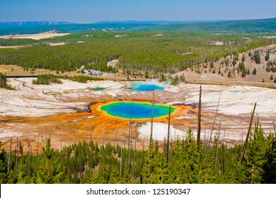 World Famous Grand Prismatic Spring in Yellowstone National Park, US