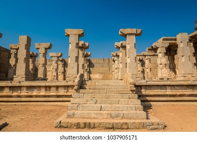 World famous historic ruins of the 14th century Vijayanagara empire at Hampi. These ruins are a UNESCO world heritage site.