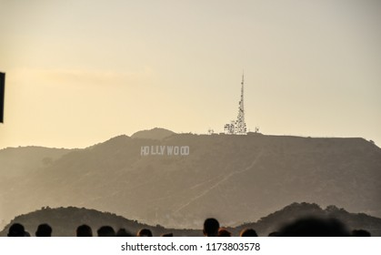 the world famous Hollywood hill during sunset