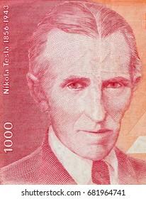 The world famous inventor Nikola Tesla portrait close up on old Yugoslavia 10 Billion dinars banknote