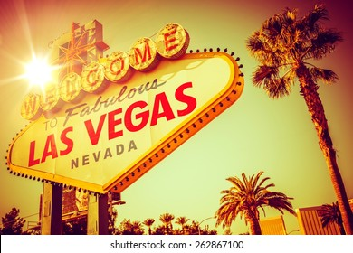 World Famous Las Vegas Nevada. Vegas Strip Entrance Sign in 80s Vintage Color Grading. United States of America. - Shutterstock ID 262867100