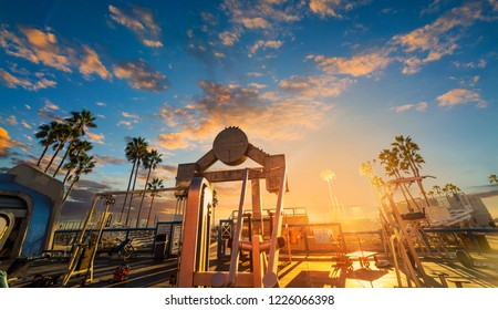 World famous Muscle Beach in Venice at sunset, Los Angeles. Southern California, USA