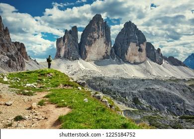 World famous peaks of Tre Cime di Lavaredo National park, UNESCO world heritage site in Dolomites, Italy